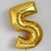 Фольгированная цифра 5 золотого цвета