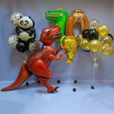 Набор шаров на день рождения с животными и динозавром