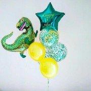 Комплект шаров на 3 года с динозавром