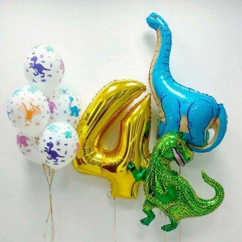Комплект шаров на 4 года с динозаврами