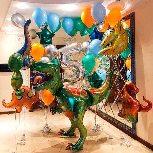 Комплект шаров на день рождения с динозаврами
