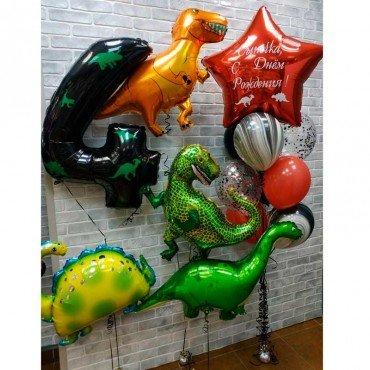 Набор воздушных шаров на 4 годика с динозаврами