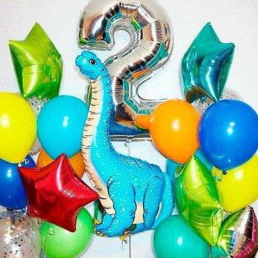 Сет воздушных шаров на день рождения с динозавром