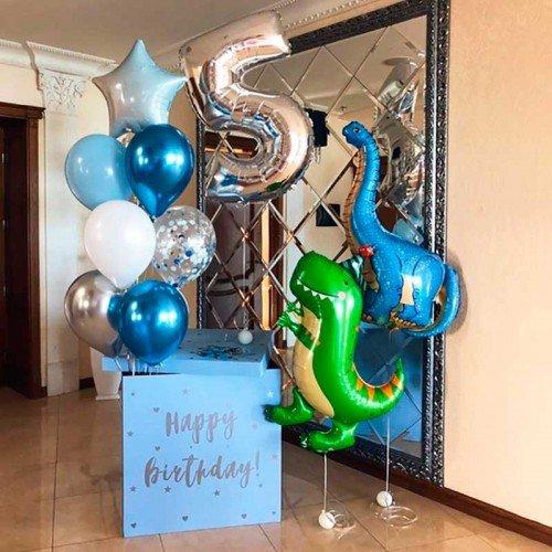 Набор шаров воздушных в подарок с динозаврами