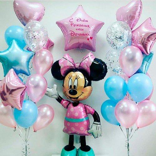 Композиция шаров к дню рождения с Минни Маус