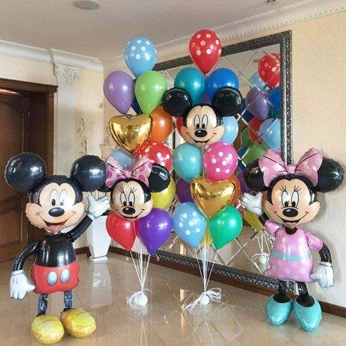 Композиция воздушных шаров с Микки и Минни Маус