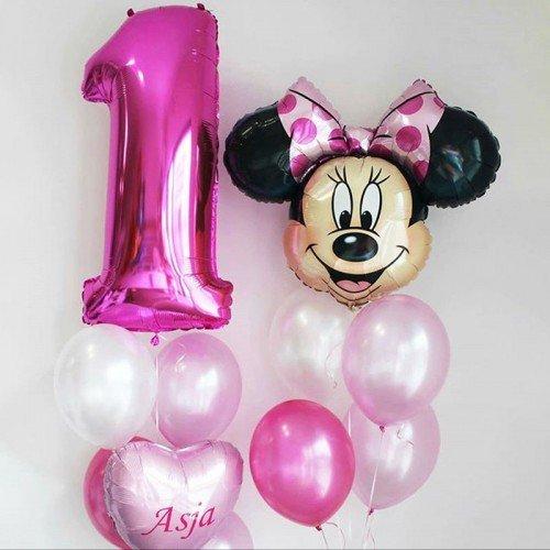 Набор шаров на 1 годик для девочки с Минни Маус
