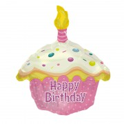 "Шар в форме кекса ""Happy Birthday"" розовый 51 см"