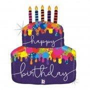"""Шар """"Дизайнерский торт со свечками"""" 76 см"""