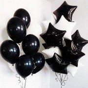 """Комплект из шариков """"Черно-белые звезды"""""""