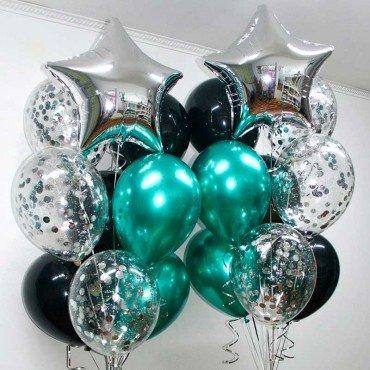 Воздушные шарики на день рождения изумрудные