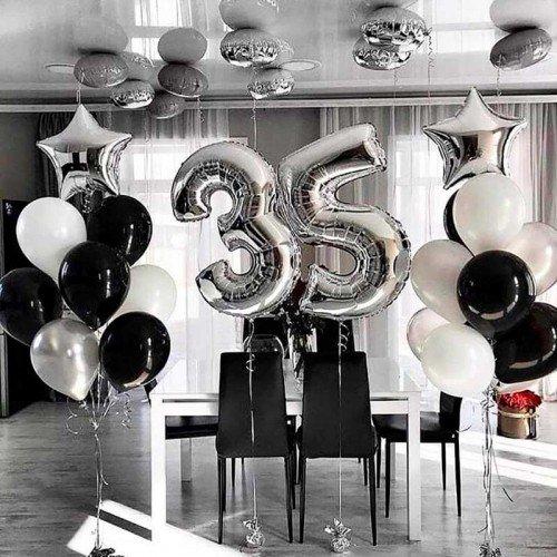 Композиция из шариков в изысканном стиле на день рождения