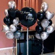 Композиция из воздушных шаров Happy Birthday Black