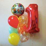 """Композиция шаров из коллекции Три кота """"Первый день рождения"""""""