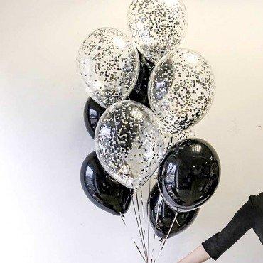 Набор из черных шариков с конфетти на праздник