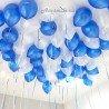 Шарики под потолок белый и синий металлик 2