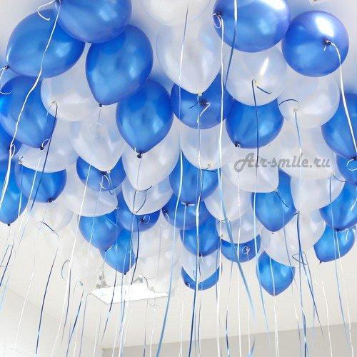 Шарики под потолок белый и синий металлик