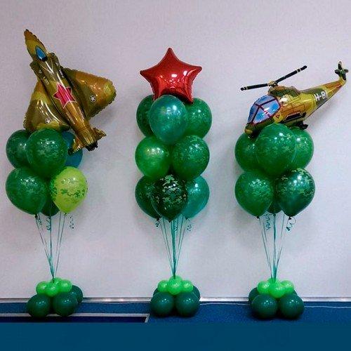 Композиция из воздушных шариков армейская