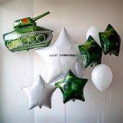 """Композиция из воздушных шаров """"Моему защитнику"""""""