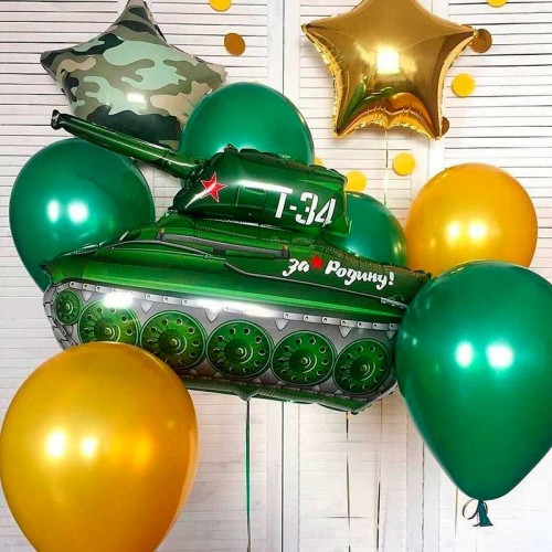 Комплект из воздушных шариков с танком
