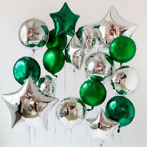 Набор из воздушных шариков с золотыми и серебряными звездами на праздник