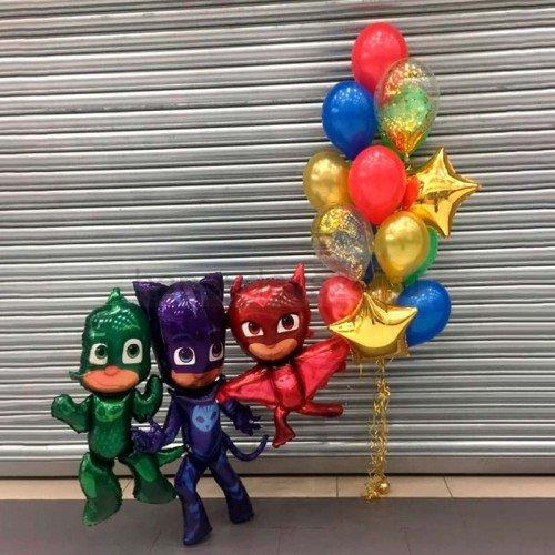 Композиция из воздушных шаров Герои в масках на праздник