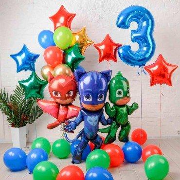 Набор из шариков на день рождения 3 года Герои в масках