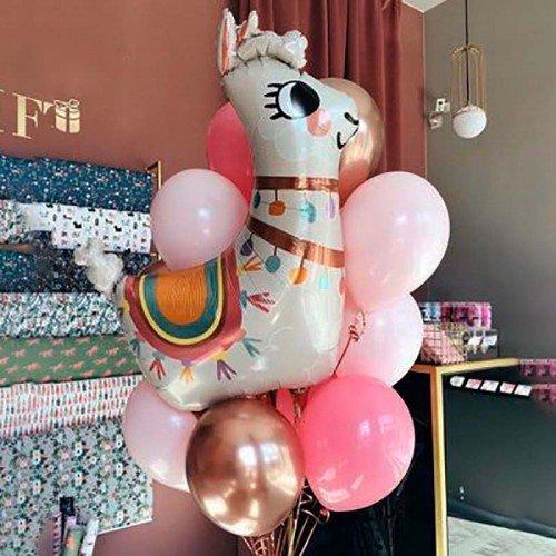Комплект шаров с Ламой и розовыми шарами