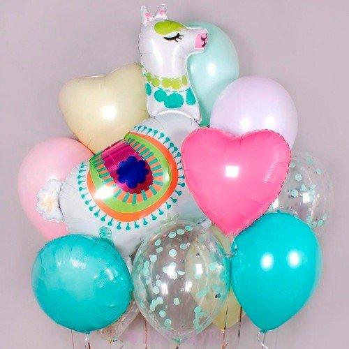 Набор из шариков с Ламой и сердечками