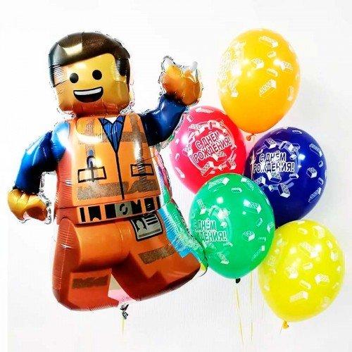 Фонтан из шариков с днем рождения и Лего Эммет