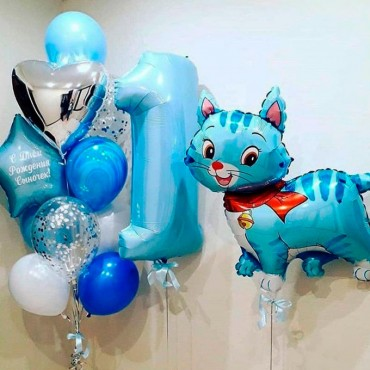 Комплект воздушных шариков с котенком голубого цвета