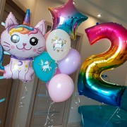 """Комплект шаров """"Кошка на радуге"""""""