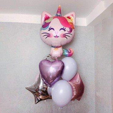 Комплект воздушных шариков с котенком единорогом и звездами