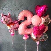 """Композиция из шаров для девочки """"Розовый котенок"""""""