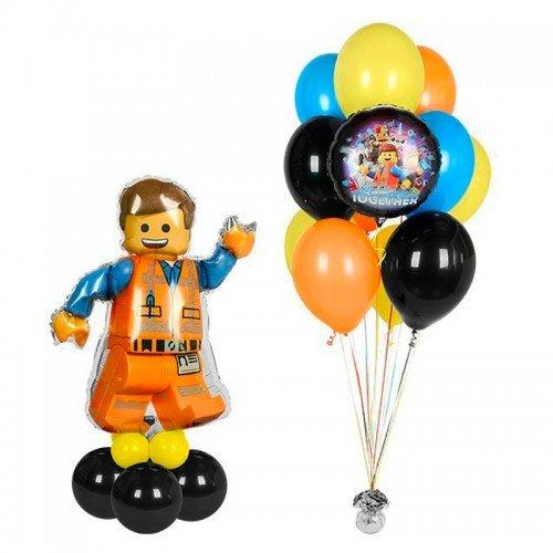 Композиция из шариков на вечеринку конструктор Лего с человеком Эммет