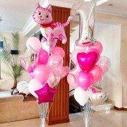 """Композиция из воздушных шаров """"День рождения с котенком"""""""