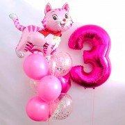 """Композиция из воздушных шаров """"Милый розовый котенок"""""""