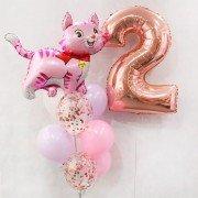 """Композиция воздушных шаров на день рождения """"Веселый котенок"""""""