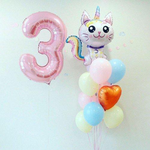 Воздушные шарики с котом единорогом в нежных оттенках на день рождения