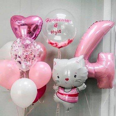 Набор шариков на день рождения праздничный котенок