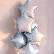 Фольгированная звезда градиент голубая с белым