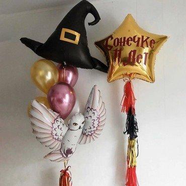Композиция из воздушных шаров со шляпой и совой Гарри Поттер