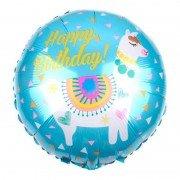 "Шар круглый Лама ""Happy Birthday"" голубой 46 см"