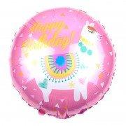 """Шар круглый Лама """"Happy Birthday"""" розовый 46 см"""