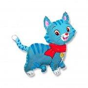 Воздушный шар Кошечка с шарфом голубая