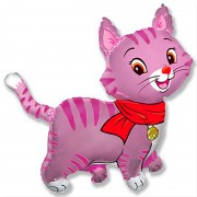 Воздушный шар Кошечка с шарфом розовая