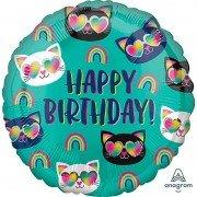 Воздушный шар Котики радуга