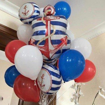 Фонтан из воздушных шариков с якорями