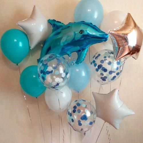 Фонтан воздушных шаров на морскую вечеринку с дельфином