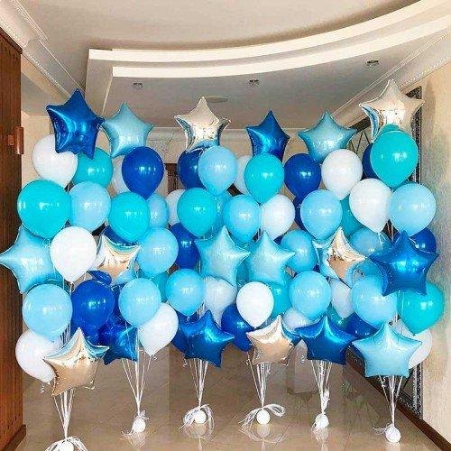 Набор воздушных шаров в голубых и синих оттенках на морскую вечеринку